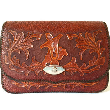 Vintage 1970s hand tooled chestnut leather box bag with exquisite foliage scrollwork and adjustable shoulder strap