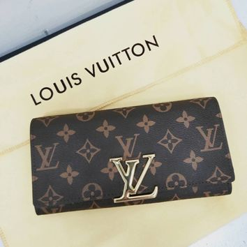 LV tide brand female long clutch bag flip wallet