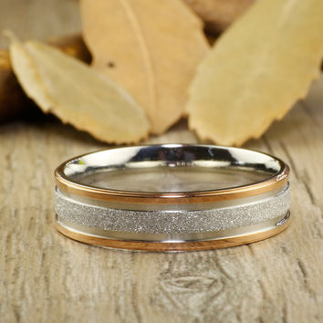 Any Size Handmade Rose Gold Wedding Band, Men Ring, Couple Ring, Titanium Ring, Anniversary Ring, Men Ring, Women Ring