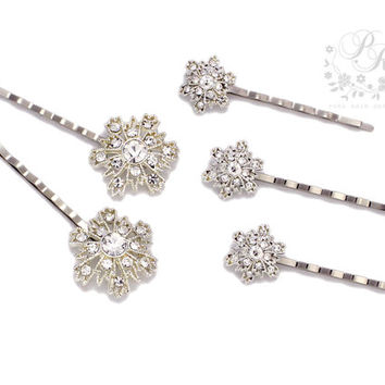 Wedding hair Pins Clear Crystal & Rhinestone snowflake bridal Hair bobby Pin Set of 5 Hair accessory Wedding Accessories