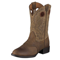 Ariat Youth Heritage Stockman Boots, Distressed Brown and Brown Bomber - 10001798
