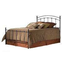 Fashion Bed Group B41444 Sanford Complete Bed with Metal Duo Panels and Round Finial Posts, Matte Black Finish, Full