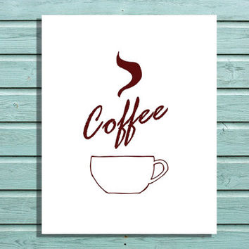 Digital Print Red Coffee Cup Doodle Printable Home Decor, Kitchen Wall Art