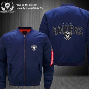 Dropshipping USA Size MA-1 Jacket Football Team Oakland Raiders Men Flight Jacket Custom Design Printed Bomber Jacket made Men