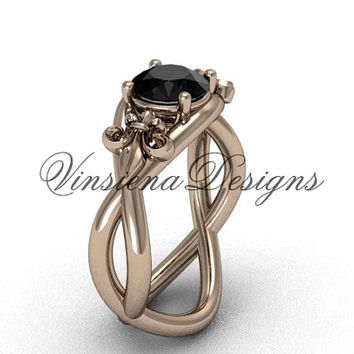 14kt rose gold Fleur de Lis engagement ring, Black Diamond VD10024
