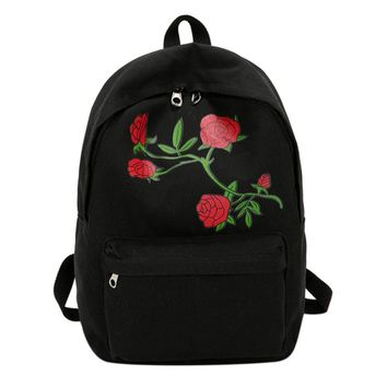 Preppy Chic Women Canvas Backpack Flower Embroidery Large Capacity School Backpack 2017 Embroidery Rose Women Backpack Mochila