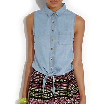 Chambray Self-Tie Top