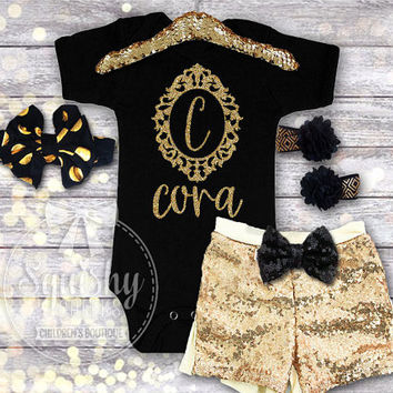 Personalized Baby Outfit, Black and Gold Baby Girl Outfit Includes Options: Bodysuit or Shirt (Short or Long Slv), Shorts, Headband, Sandals