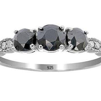 0.91 Carats 1 CT 3 Stone Black Diamond Ring With Milgrain Sterling Silver