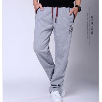 Korean Casual Pants Summer Men Knit Cotton Sports Sportswear [290339389469]