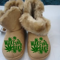 wake and bake Slipper Fur Boot bob marley weed cannabis ganja bong smoke