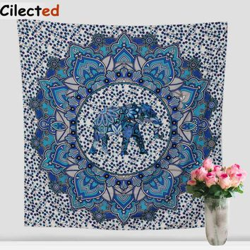 Indian Mandala Tapestry Hippie Home Decorative Wall Hanging Tapestries Boho Beach Towel Elephant Bedspread Table Cloth 145X145Cm