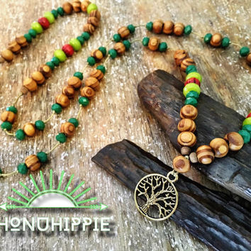 Yoga mala tree of life necklace. Boho hippie yoga mediation jewelry