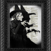 Wicked Witch Dictionary Art Print, Wizard of Oz Halloween Decor, Dictionary Art Print, Dictionary Art Page, Halloween Decor, Party Decor