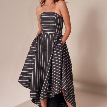 C/MEO COLLECTIVE MOMENTS APART GOWN navy stripe