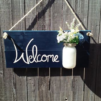 Welcome Sign, Floral Welcome Sign, Mason Jar Welcome Sign, Wall Hanging