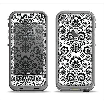 The Black Floral Delicate Pattern Apple iPhone 5c LifeProof Nuud Case Skin Set