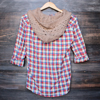boyfriend plaid flannel shirt with knit hood