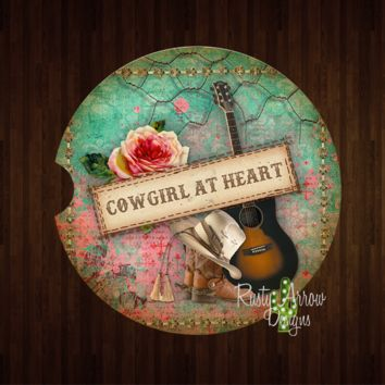 Cowgirl At Heart Sandstone Car Coaster