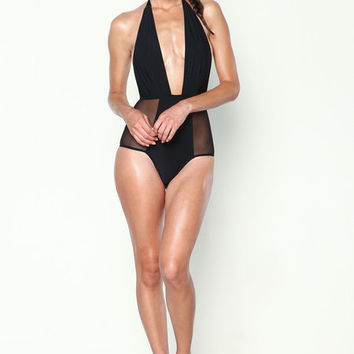 PRIVATE ARTS PLUNGE MESH HALTER SWIMSUIT IN BLACK