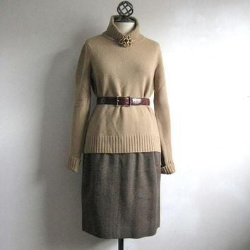 Vintage Ralph Lauren Skirt Vintage 1980s Skirt Brown Tweed Check Wool Skirt 10