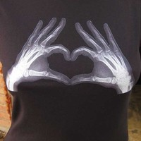 Heart of Xray Hands WOMENS T Shirt Long Sleeve by zedszombieranch