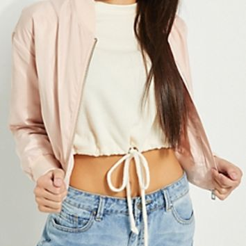 Pink Crop Bomber Jacket