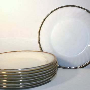 Fire King Oven Ware White Swirl Golden Anniversary Dinner Plate Set of 8, Vintage Anchor Hocking Serving Set Oven Ware