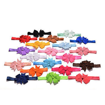 20X/lot Girl Hair Bow Headband Elastic Hair Bands for Newborn Infant Toddler 3C