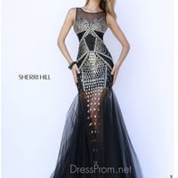 Sleeveless High Neckline Formal Prom Gown By Sherri Hill 9736