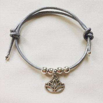 Yoga Leather Bracelet | Lotus Flower | Silver | Bracelet | Mindfulnessbracelet | Leather Cord | Adjustable