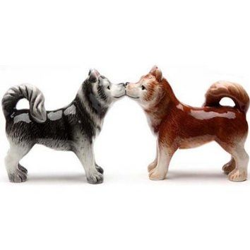 Pacific Giftware Kissing Siberian Huskies 3 Inch Ceramic Magnetic Salt and Pepper Shaker Set Fun Novelty Gift