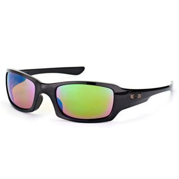 Oakley Fives Squared Sunglasses Polished Black Polarized Prizm Shallow Water