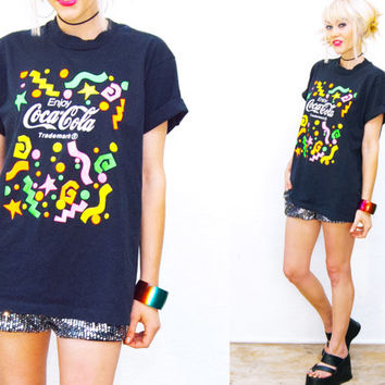VTG Black & Neon Coca Cola T-shirt • Shirt Top • 90s / 80s grunge • distressed • club kid rave  •