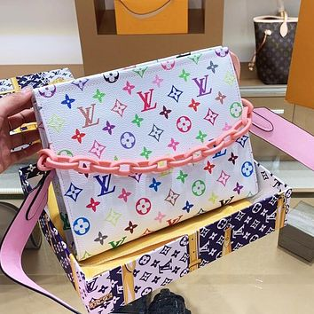 LV Louis Vuitton Hot Sale New Colorful Printed Letter Women's Chain Diagonal Crossbody Bag