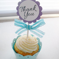 Cupcake Toppers in Custom Colors - Personalized Cupcake Toppers - Cupcake Topper Party Decorations - Thank You Cupcake Toppers Cupcake Picks