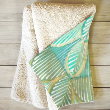 Cori Dantini Turquoise Scallops Fleece Throw Blanket