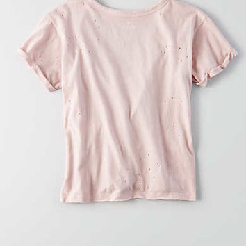 AEO Shrunken Choker T-Shirt, Light Pink