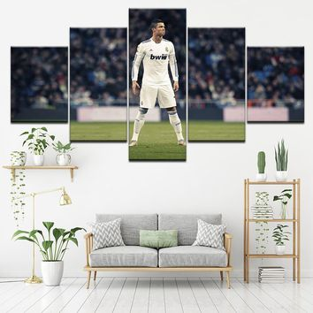 HD Printed Painting Wall Art Bedroom Decor Modular Picture Framework 5 Panel Cristiano Ronaldo Canvas Football Sports Poster CR7