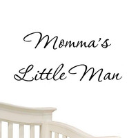 Momma's Little Man Nursery Wall Decals Cute Baby Quote Vinyl Nursery Wall Qut...