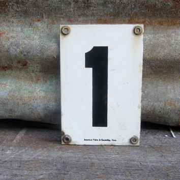 Antique Porcelain Metal Sign Number 1 Number One Address Sign  Black and White Old Metal Number Sign Industrial Sign