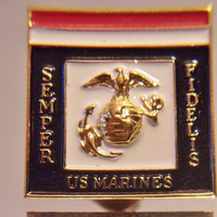 US Marines Enamel Pin Red White Blue Patriotic Collectible Militaria