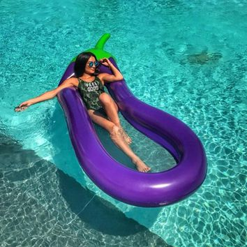 Purple Eggplant Float Inflatable Swim Toys Swimming Pool Floating Row Swimming Ring