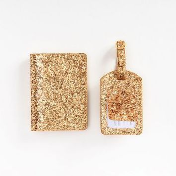 Gold Passport and Luggage Tag Set