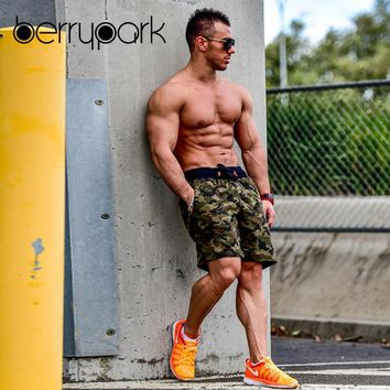 BerryPark Camouflage Sport Shorts 2019 Summer Men Leisure Camo Training Running Street Hip Hop Short Bottoms Gym Jogger Wear