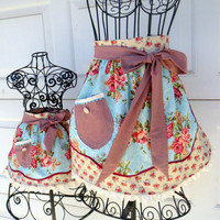 Mother Daughter Matching Half Apron Set Cottage Chic Shabby Chic Aprons