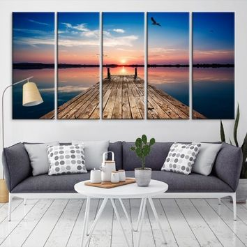 72349 - Sunrise and Wood Pier Large Wall Art Canvas Print