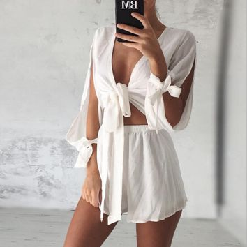 2016 Summer Fashion The New Bow V-neck Coat+ Shorts Set