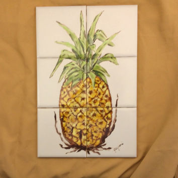 Tile mural, Hand painted tile mural, Original design, Pineapple tile,kitchen backsplash, table top insert.