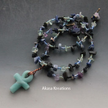 Ankh - Jade Crystal Healing Beaded Necklace - 22.2 Inches - Spiritual Wiccan Pagan - Sodalite Obsidian Rainbow Fluorite - Psychic Protection